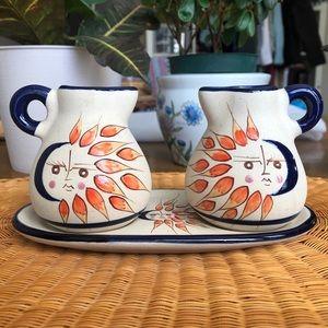 Mexican Pottery Sun Moon Mini Pitchers Set